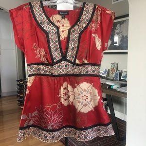bebe Asian inspired Silk V-neck Blouse (XS)